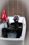 Operatore subacqueo con la bandierina secondaria Fotografie Stock Libere da Diritti