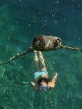 Operatore subacqueo del bambino, presa d'aria Fotografia Stock