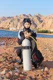 Operatore subacqueo della donna Immagine Stock