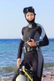 Operatore subacqueo della donna Fotografie Stock