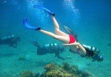 Operatore subacqueo della ragazza Fotografia Stock