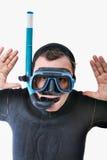 Operatore subacqueo di scuba bizzarro nell'espressione seria immagini stock