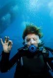 Operatore subacqueo di scuba della donna fotografia stock