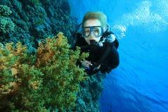 Operatore subacqueo di scuba e barriera corallina fotografie stock libere da diritti