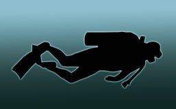 Operatore subacqueo di scuba posteriore dell'azzurro Fotografia Stock
