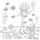 Operatore subacqueo divertente del fumetto nell'oceano Illustrazione di vettore coloring Fotografia Stock