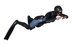 Operatore subacqueo femminile Fotografia Stock