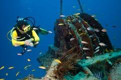 Operatore subacqueo femminile che esplora un naufragio fotografia stock