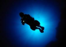 Operatore subacqueo Silhouette Fotografia Stock Libera da Diritti