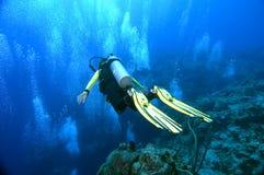 Operatore subacqueo sopra il bordo Immagine Stock