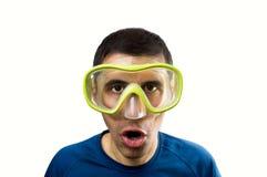 Operatore subacqueo sorpreso Fotografia Stock