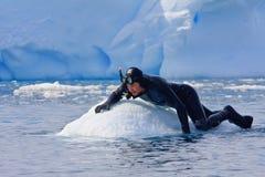 Operatore subacqueo sul ghiaccio Fotografia Stock Libera da Diritti