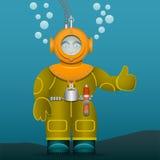 Operatore subacqueo in un vecchio casco di immersione con bombole e del vestito Stile del fumetto Immagine di vettore royalty illustrazione gratis