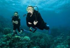 Operatori subacquei e corallo di scuba fotografie stock libere da diritti