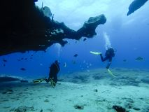 Operatori subacquei nell'immersione vicino alla scogliera immagini stock libere da diritti