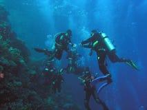 Operatori subacquei sulla scogliera fotografia stock