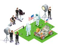 Operators Isometric Composition. Isometric composition with movie operators shooting scene with american astronauts on white background 3d vector illustration Royalty Free Stock Photo