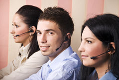 Operators working in a call centre Royalty Free Stock Photos