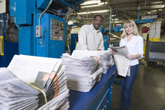 Operators Working In Newspaper Factory Stock Photography