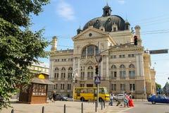 Opern-und Ballett-Theater im historischen Stadtzentrum Lemberg, Ukraine Lizenzfreie Stockfotografie