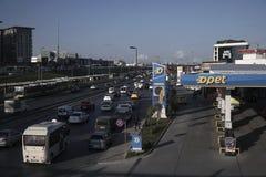 Opet Fuel Station at Istanbul Cevizlibag District. Istanbul, Turkey - April 3, 2019 : Opet Fuel Station at Istanbul, Cevizlibag District beside the road with royalty free stock photo