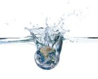 Opgedroogde die planeet in de wateren van wereldoceaan wordt ondergedompeld stock afbeelding