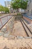 Opgegraven plaats van vroeger Kitanosho-kasteel in Fukui, Japan Stock Fotografie