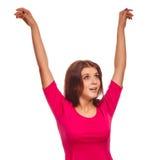 Opgeheven de vrouw overhandigt omhoog gelukkig succes kijkt Royalty-vrije Stock Afbeelding