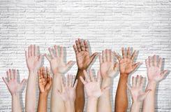 Opgeheven die hand op Wit wordt geïsoleerd Stock Foto's