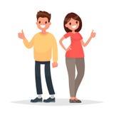 Opgeheven duim koel De man en de vrouw tonen goedkeuringsgebaar Vect stock illustratie
