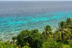 Opgeheven eilandmening over palmen Stock Foto