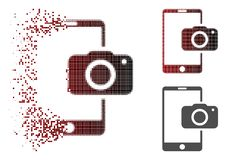 Opgelost Dot Halftone Mobile Camera Icon stock illustratie