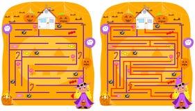 Opgelost het labyrintspel van Halloween Stock Afbeeldingen