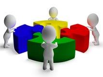 Opgelost raadsel en 3d Karakters die Eenheid en Samenwerking tonen stock illustratie