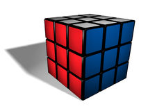 Opgeloste rubik kubus op wit Stock Foto's