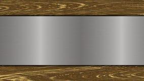 Opgepoetste metaalplaat op houten achtergrond vector illustratie