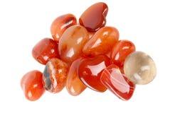 Opgepoetste oranje gestreepte agaatinzameling Stock Afbeelding