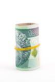 Opgerold Pools geld Royalty-vrije Stock Foto's