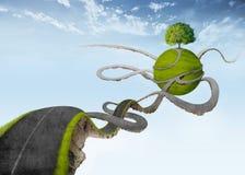 Opgeschorte weg aan natuurlijke oase vector illustratie