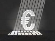 Opgesloten Helder Euro Symbool Royalty-vrije Stock Foto's