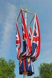 Opgevouwene Union Jack markeert Londen, Engeland, het UK Stock Fotografie
