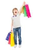 Opgewekt jong winkelend meisje die voor vreugde schreeuwen Stock Foto's