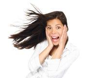 Opgewekte gelukkige vrouw Stock Foto's