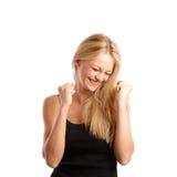 Opgewekte jonge vrouw Royalty-vrije Stock Foto