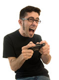 Opgewekte mens het spelen videospelletjes Stock Foto