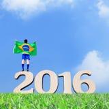 Opgewekte mens met de vlag van Brazilië Royalty-vrije Stock Afbeeldingen