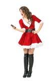 Opgewekte Santa Claus-vrouw die selfie met slimme telefoon nemen Stock Fotografie