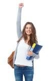 Opgewekte vrouwelijke student die hand opheffen haar die hand op wit wordt geïsoleerd Royalty-vrije Stock Afbeelding