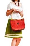 Opgewonden vrouw met een zak royalty-vrije stock afbeeldingen