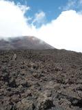 Opgezet op de Vesuvius in het midden van vulkanische rotsen, boven de Baai van Napels, Italië stock foto